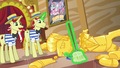 Flim and Flam sweep up pieces of Gladmane's resort S6E20.png