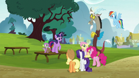 Twilight gathers her friends in the park S5E22