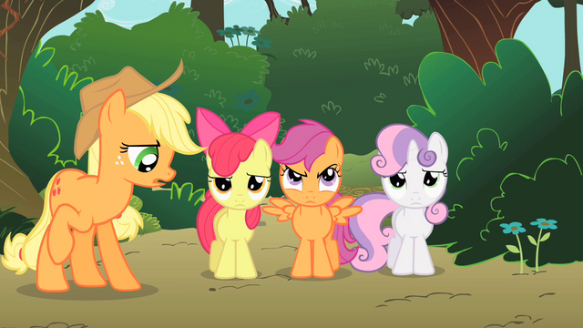 File:Applejack surprised that the CMC are not happy with the tree house S1E18.png