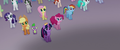 Ponies and Spike looking at the airship MLPTM.png
