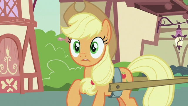 File:Applejack surprised over Rarity's announcement S7E9.png