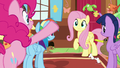 Pinkie Pie getting Fluttershy's attention S7E5.png