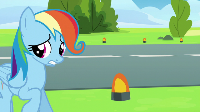 "File:Rainbow ""Care Mare"" Dash backing away S6E7.png"
