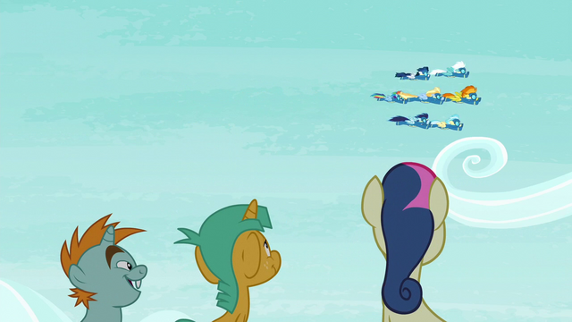 File:Snips, Snails, and Sweetie Drops watching the Wonderbolts S6E7.png
