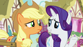 Applejack skeptical; Rarity innocently confused S7E9.png