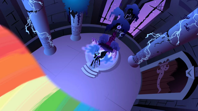 File:Nightmare Moon about to get hit by the beam S1E2.png