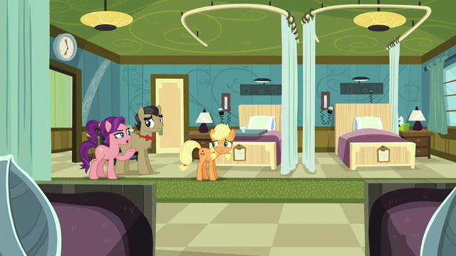 File:Applejack, Filthy, and Spoiled in empty hospital room S6E23.png