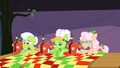 Applesauce, Apple Rose, and Granny Smith sewing S3E8.png