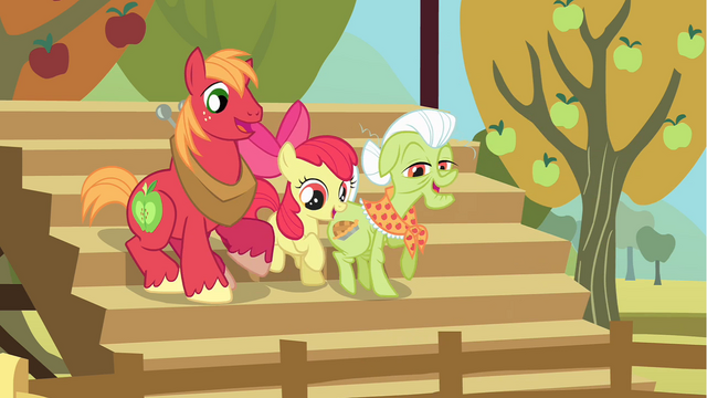 File:Big McIntosh, Apple Bloom, Granny Smith cheering S1E13.png