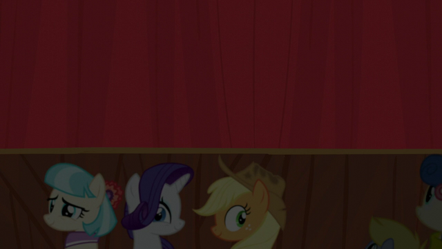 File:Coco, Rarity, and AJ look at the audience S5E16.png