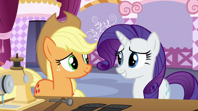 File:Rarity keeping Applejack in a good mood S7E9.png