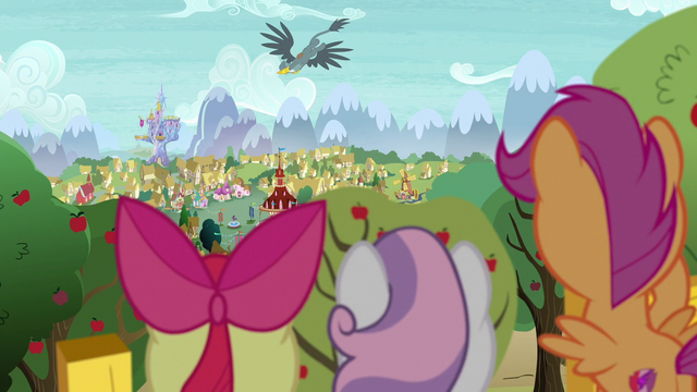 File:Cutie Mark Crusaders watch Gabby fly away S6E19.png