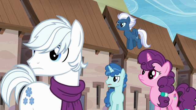 File:Double Diamond, Party Favor, Sugar Belle, and Night Glider sees someone S5E26.png