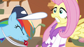 Fluttershy startled by Rainbow's whistling S02E22.png