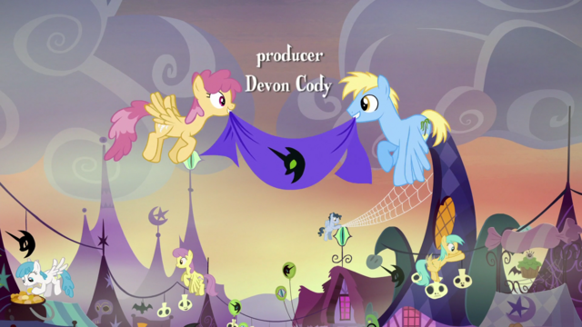 File:Pegasi decorating Ponyville for Nightmare Night S5E21.png