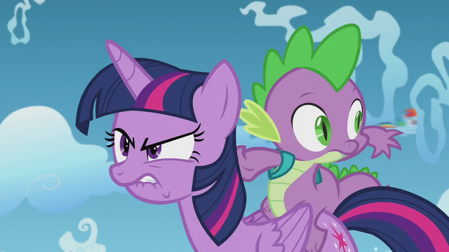 File:Spike sees filly Rainbow Dash fly by S5E25.png