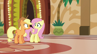 Applejack and Fluttershy in mild surprise S6E20