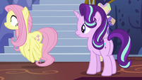 Fluttershy leaves to gather the animals S6E21