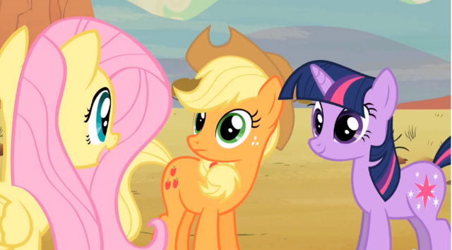 File:Fluttershy talking to Applejack S02E14.png