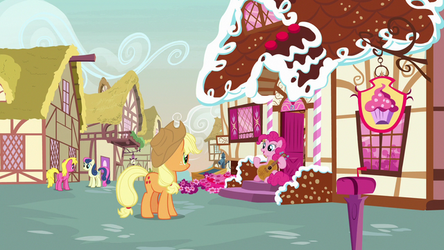File:Pinkie Pie asks Applejack about the fashion contest S7E9.png