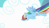 Rainbow Dash flying through clouds S4 Opening