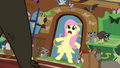 Fluttershy blocking the entrance to the cottage S4E01.png