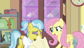 Fluttershy pulls towel off of Dr. Fauna S7E5.png