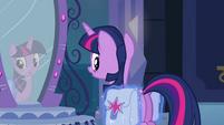 Princess Luna placing saddlebags on Twilight EG