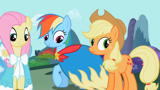File:Rainbow Dash admiring cape S2E10.png