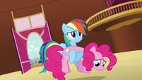 Rainbow Dash carrying Pinkie S3E03