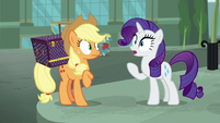 Rarity and Applejack hear street merchant S5E16