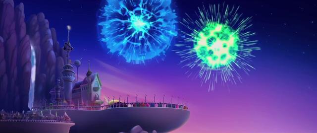 File:Fireworks over Canterlot at sunset MLPTM.png