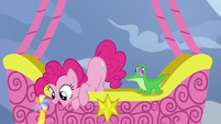 Pinkie Pie sees Yakyakistan from the balloon S7E11