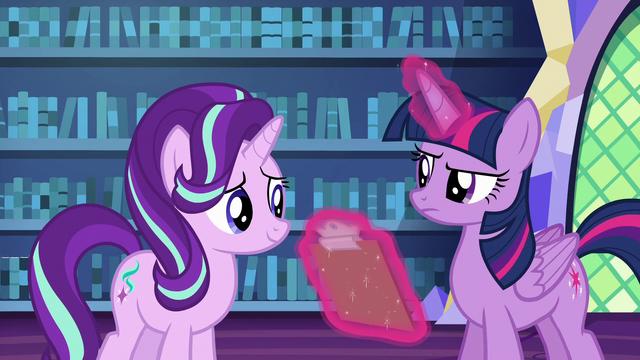File:Twilight Sparkle takes the checklist back S6E21.png