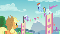 Applejack and Rainbow smile at each other S5E24