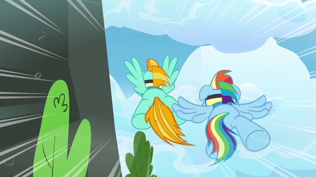 File:Rainbow and Lightning zooming around the bend S3E7.png