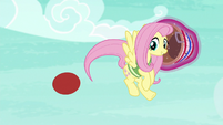 Fluttershy whips the ball away with her tail S6E18
