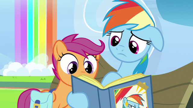 File:Rainbow Dash showing a picture to Scootaloo S7E7.png