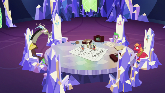 File:Spike, Big Mac, and Discord in the throne room S6E17.png