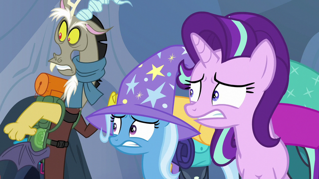 File:Discord, Trixie, and Starlight looking scared S6E26.png