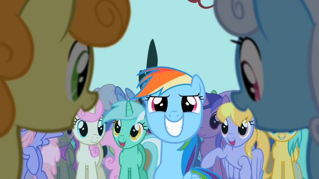 File:Rainbow Dash enjoying cheers S2E8.png