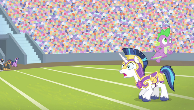 File:Spike jumps from Shining Armor's back S4E24.png