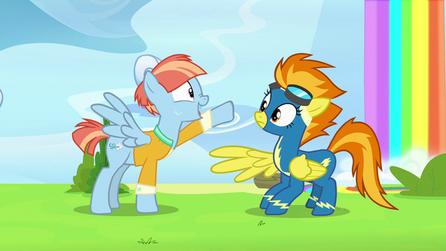 File:Windy Whistles pointing at Spitfire's goggles S7E7.png