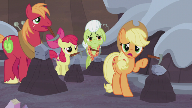 "File:Applejack ""that rock is a Hearth's Warmin' doll?"" S5E20.png"