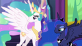 Celestia and Luna watch Twilight and Starlight hug S7E1.png