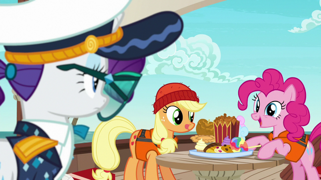 File:Pinkie Pie offering snacks to Rarity S6E22.png