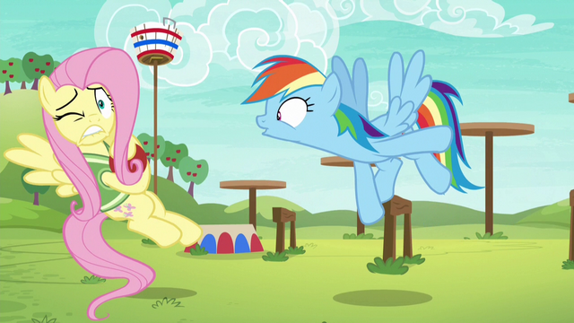 """File:Rainbow Dash shouts """"go!"""" at Fluttershy S6E18.png"""
