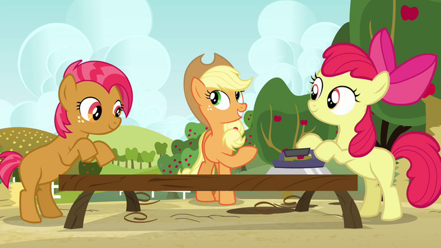 "File:Applejack singing ""workin' together thankfully"" S3E8.png"