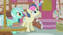 Lyra Heartstrings and Sweetie Drops looking at a parasprite S01E10