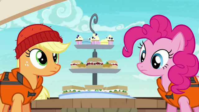 File:Applejack and Pinkie look at Rarity's snacks S6E22.png